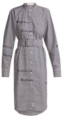 Proenza Schouler Pswl - Striped Cotton Shirtdress - Womens - Blue White
