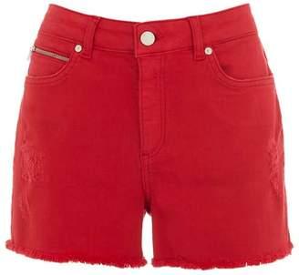 Mint Velvet Red Distressed Denim Shorts