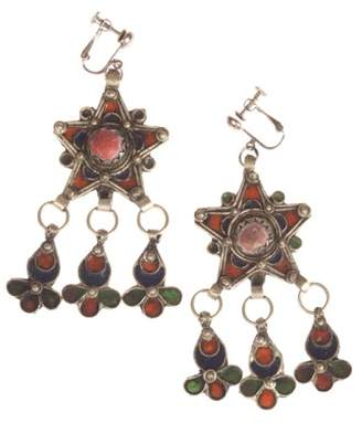 Moroccan Enamel Red Coral Chandelier Earrings