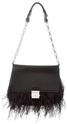 Michael Kors Mia Feather-Trim Leather Trapeze Shoulder Bag