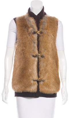 Michael Kors Faux Fur Knit Vest