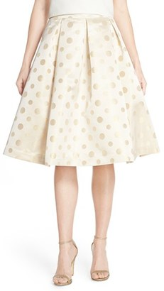 Women's Eliza J Polka Dot Metallic Midi Skirt $168 thestylecure.com