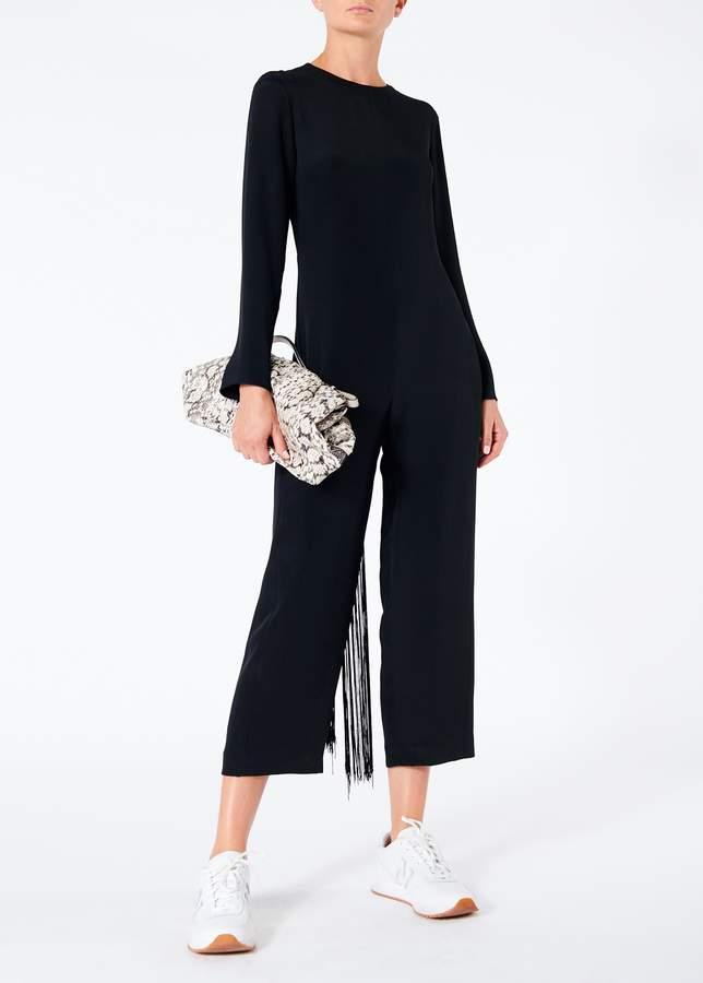 Silk Jumpsuit with Fringe