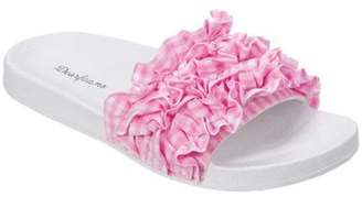 Dearfoams Women's Ruffle Molded Footbed Slide