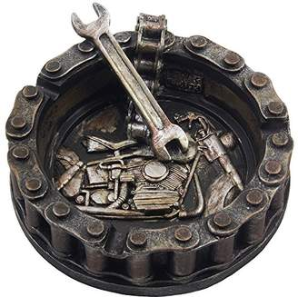 DAY Birger et Mikkelsen Decorative Motorcycle Chain Ashtray with Wrench and Bike Motif Great for a Biker Bar & Harley Mechanics Shop Smoking Room Decor As Unique Father's Gifts for Men or Smokers
