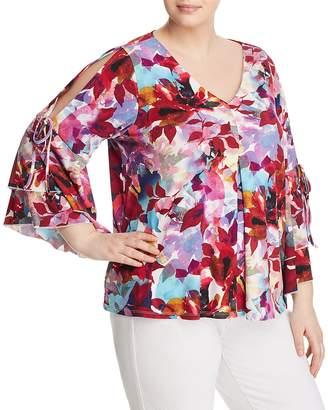 Cupio Plus Floral-Print Cold-Shoulder Top - 100% Exclusive