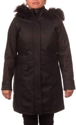Unbranded Women's Plus Size Faux Leather Anorak Coat with Detachable Fake Fur Trimmed Hood