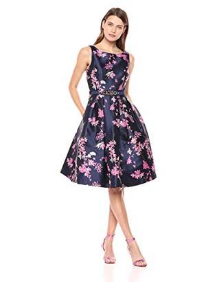 Eliza J Women's Floral Fit and Flare Midi Dress