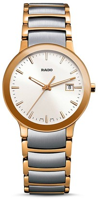 RADO Centrix Stainless Steel & Rose Gold PVD Watch, 28mm $1,000 thestylecure.com