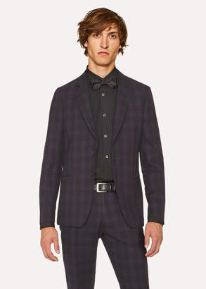 Paul Smith Men's Tailored-Fit Purple And Black Jacquard Check Blazer