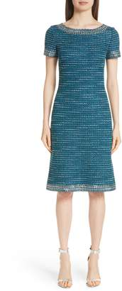 St. John Sequin & Sheen Tweed Knit Dress