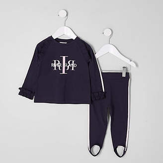 River Island Mini girls Navy RI top and leggings outfit