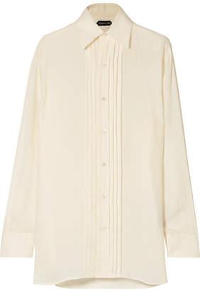 Tom Ford Pintucked Twill Shirt - Cream