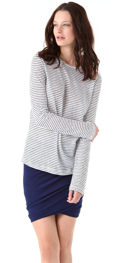 T by alexander wang Linen Striped Long Sleeve Tee