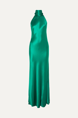 Galvan Sienna Silk-satin Halterneck Gown - Forest green