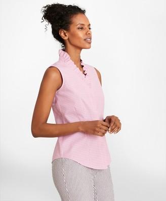 Brooks Brothers Non-Iron Checked Cotton Poplin Ruffle-Collar Sleeveless Blouse