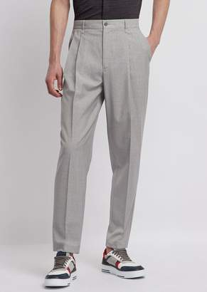 17a417e9cfcf2d Emporio Armani Oversized Pants With Pleats And Light Wool