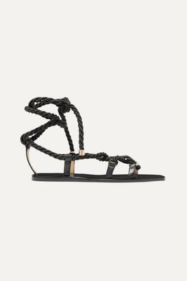 Jimmy Choo Aziza Leather Flat Sandals - Black