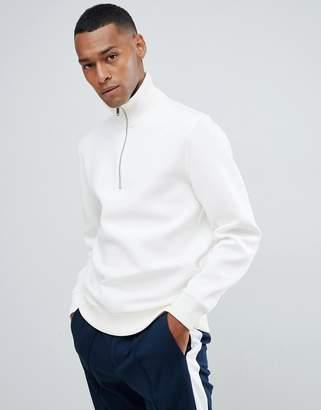 Reiss half zip knitted jumper in ecru