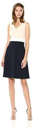 Tommy Hilfiger Women's Scuba Crepe v Neck tri Colorblock Dress