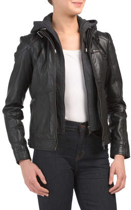 Removable Hood Leather Jacket
