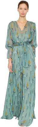 Luisa Beccaria Floral Printed Silk Chiffon Dress