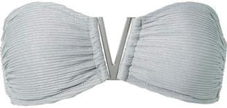 Heidi Klein Helsinki Metallic Ribbed Bandeau Bikini Top - Silver