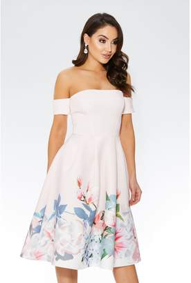 Quiz Pink Floral Print Bardot Full Skirt Dress