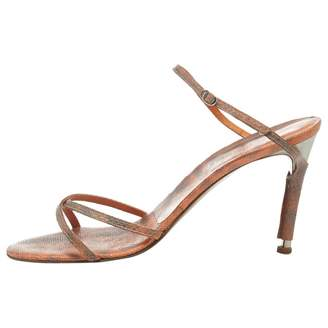 Michel Perry Orange Leather Sandals