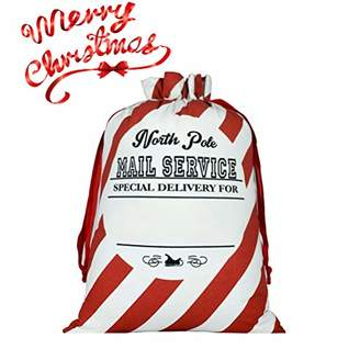 "DIY Personalized Santa Sack Large Christmas Presents Sacks Bags with Drawstring 19""x27""+1 Red Satin Ribbon for Xmas Gift Decorations 3/4""x3 Yards"