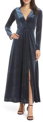 AVEC LES FILLES Sparkle Velvet Maxi Dress