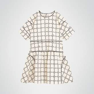 Burberry Childrens Piping Detail Flower Print Cotton Dress