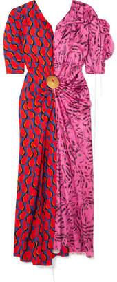 Marni Embellished Patchwork Printed Satin Midi Dress - Pink
