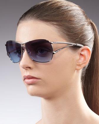 Jee Vice Optics Catchy Crystal-Encrusted Sunglasses, Silvertone