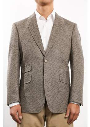 Verno Big Bacchi Men's Light Brown Patterned Classic Fit Italian Styled Wool Blazer