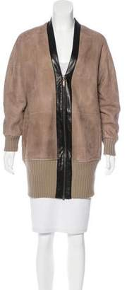 Derek Lam Leather-Trimmed Shearling Jacket
