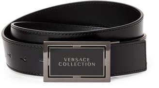 Versace Black Leather Logo Plaque Belt