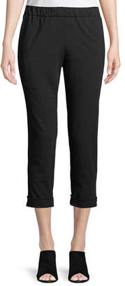 Eileen Fisher Slim Organic Cotton Jersey Cropped Pants, Plus Size
