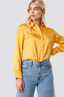 NA-KD Na Kd Long Sleeve Satin Shirt Burgundy