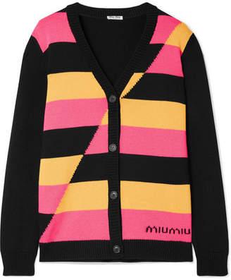Miu Miu Intarsia Wool Cardigan - Bubblegum