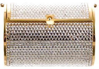 Judith Leiber Crystal Embellished Cylinder Clutch $360 thestylecure.com