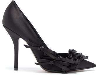 No.21 No. 21 - Bow Embellished Satin Pumps - Womens - Black