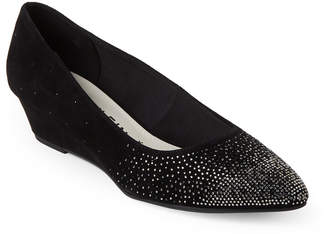 Anne Klein Black Ellery Embellished Wedge Pumps