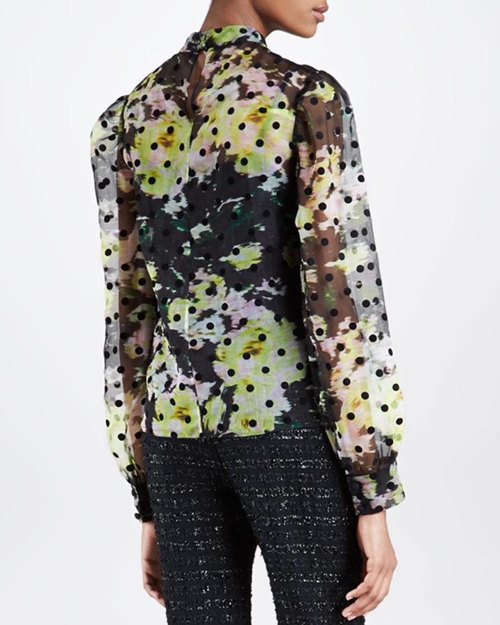 Erdem Dotted Floral-Print Chiffon Blouse