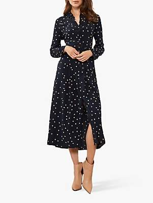 Mint Velvet Spot Shirt Midi Dress, Navy