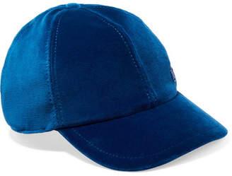 Maison Michel Tiger Velvet And Modal-blend Baseball Cap - Blue