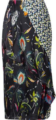 Jason Wu Paneled Floral-print Silk-crepon Midi Skirt - Black