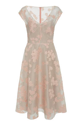 Lela Rose Open Neck Full Skirt Silk Dress