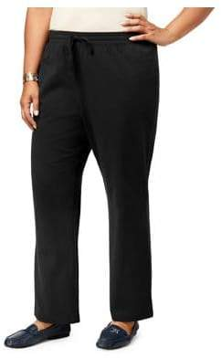 Karen Scott Plus Cotton-Blend Drawstring Pants