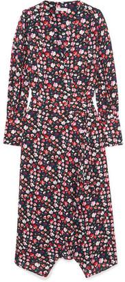 Equipment Neema Wrap-effect Floral-print Crepe De Chine Dress - Red